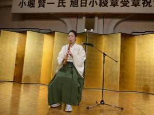 最至難曲とされる「鶴の巣籠」を演奏する寄田真見乃さん